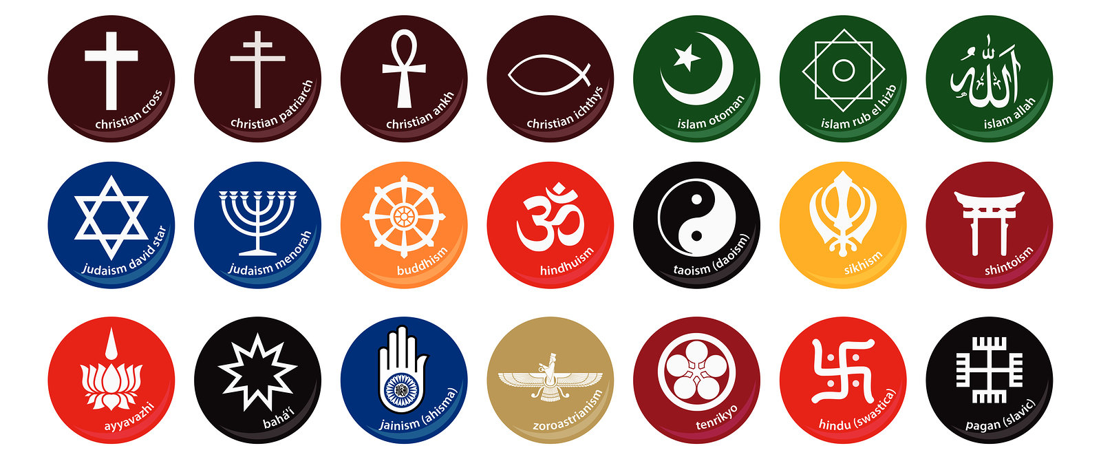 A lot of religious symbols (judaism, christianity, islam, budhism, hinduism, etc.), in vectorial file format.